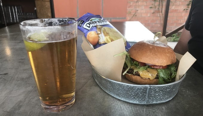 Cheeseburger and Beer at St George Hotel
