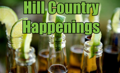 Hill Country Happenings logo over cold beer with lime wedges