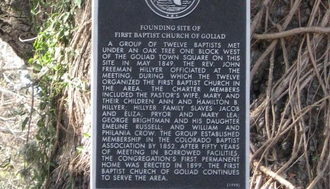 Baptist Oak historic marker