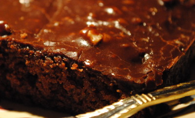 chocolate cake with pecan icing