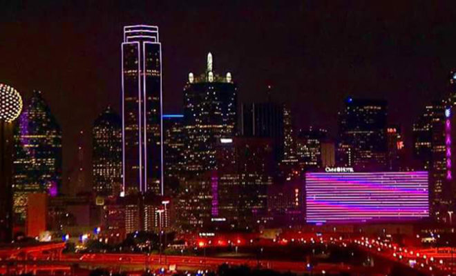 the dallas skyline turned pink for breast cancer awareness