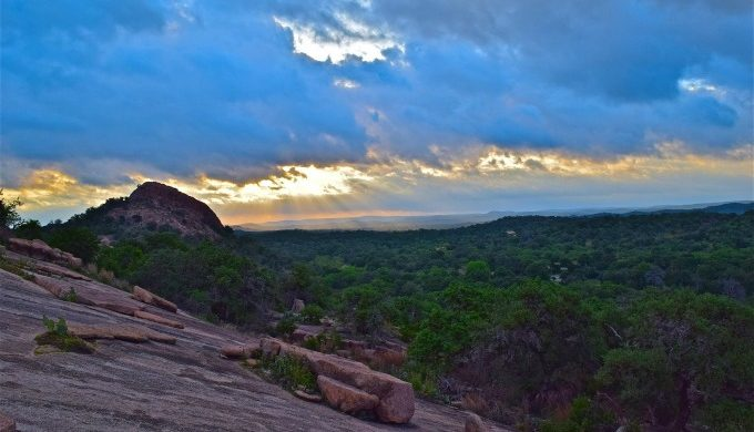 enchanted rock at sunset