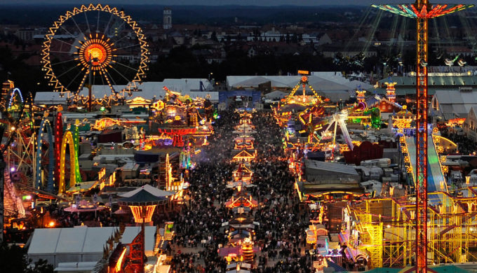 "An overall view shows the fairgrounds of the Oktoberfest beer festival on September 20, 2008 at the ""Theresienwiese"" in Munich, southern Germany. Organisers of the world's largest folk festival running until 05 October expect up to six million visitors to enjoy Bavarian beer in huge tents and fun rides on the fairgrounds.AFP PHOTO DDP / JOERG KOCH GERMANY OUT (Photo credit should read JOERG KOCH/AFP/Getty Images)"