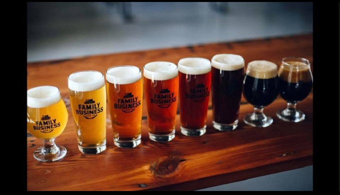 A Line-Up of the Diverse Beer Selection at The Family Business