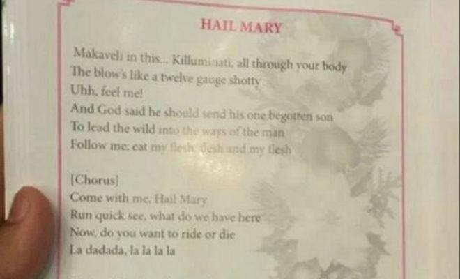 Church Prints Tupac Lyrics to 'Hail Mary' Instead of