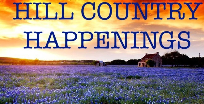 Hill Country Happenings written over picture of a golden sunset over a field of bluebonnets