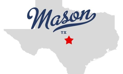 Map of Texas with Mason superimposed in blue script