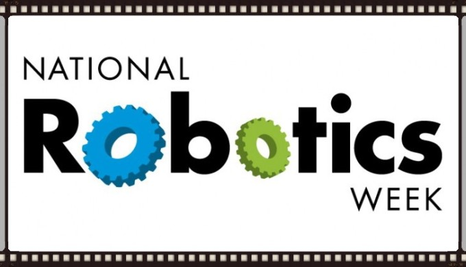 """National Robotics Week logo with blue and green gears for the letter """"O"""""""