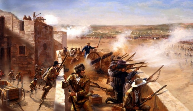 Painting of Alamo defenders shooting at Mexican militia over the Alamo walls