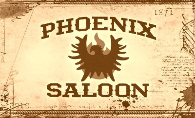 Phoenix Saloon logo with phoenix set in front of flames