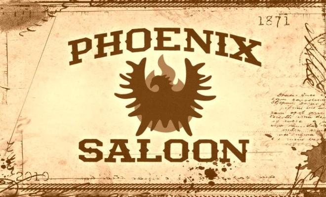 Phoenix Saloon logo with phoenix set in front of flames