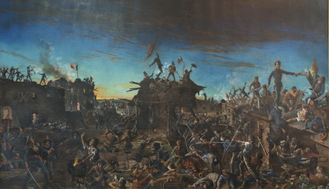 Painting depicting the battle of the Alamo in San Antonio