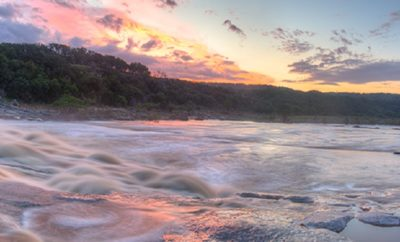 Floods rolled through the Pedernales River Valley and across the Texas Hill Country after torrential rains fell for weeks. This panorama comes from Pedernales Falls State Park at sunrise several days after the river crested at historic levels.