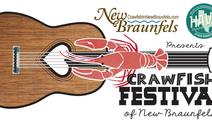 New Braunfels Crawfish Festival flyer with guitar and crawfish