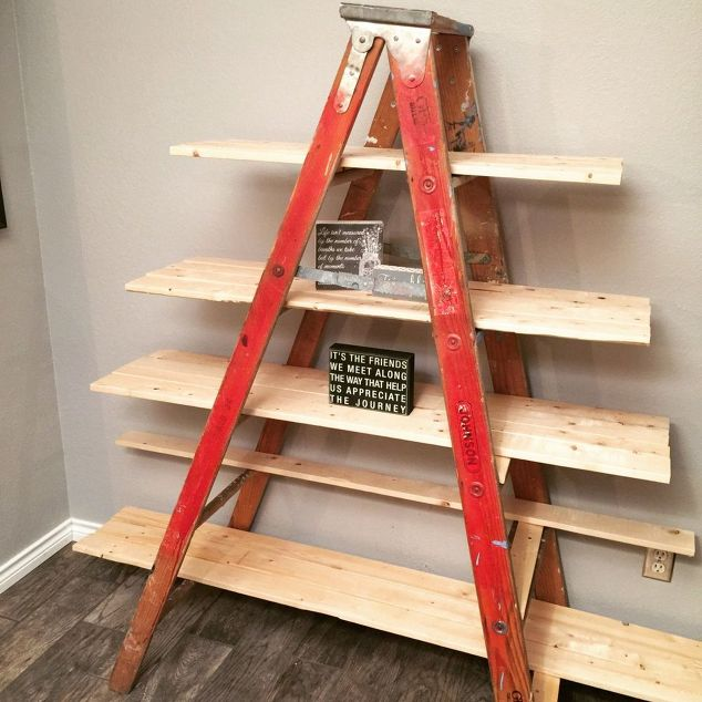 old-wooden-ladder-transformed-into-a-country-chic-shelf-diy-repurposing-upcycling-shelving-ideas