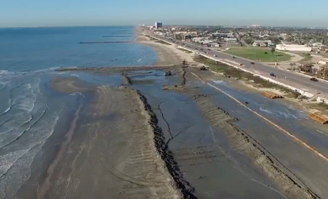 Sand Added To Galveston S Seawall Marks