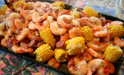 shrimp boil served on table