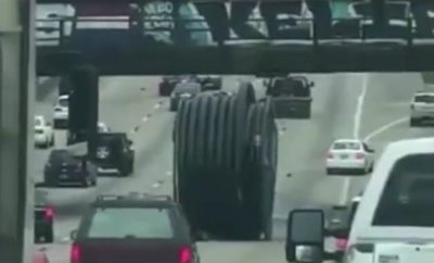 Watch a Huge Spool Roll Down a Texas Highway, Frantic Drivers Dodging