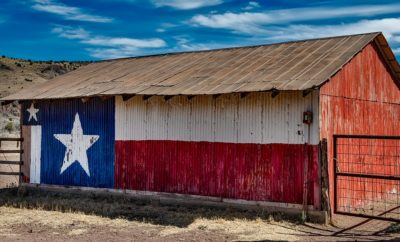 Texas Flag on a Barn town
